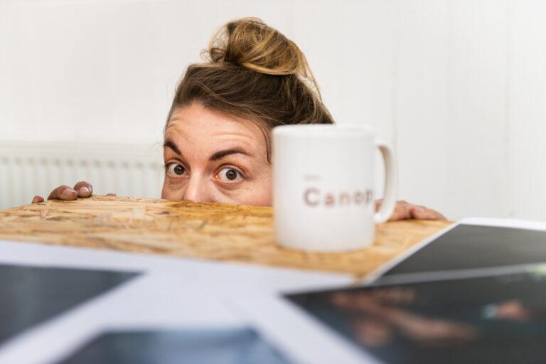 Katie Hyam peering over table